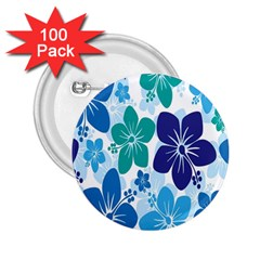 Hibiscus Flowers Green Blue White Hawaiian 2.25  Buttons (100 pack)