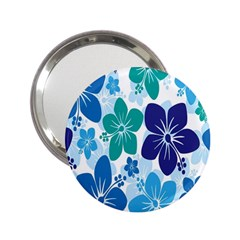 Hibiscus Flowers Green Blue White Hawaiian 2.25  Handbag Mirrors