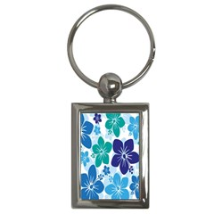 Hibiscus Flowers Green Blue White Hawaiian Key Chains (Rectangle)