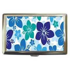 Hibiscus Flowers Green Blue White Hawaiian Cigarette Money Cases