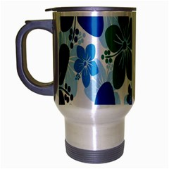 Hibiscus Flowers Green Blue White Hawaiian Travel Mug (Silver Gray)