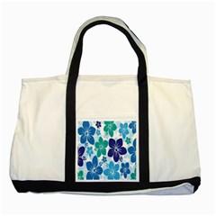 Hibiscus Flowers Green Blue White Hawaiian Two Tone Tote Bag
