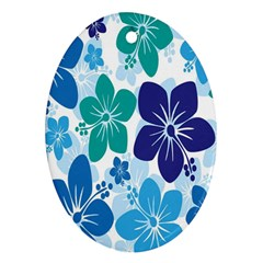 Hibiscus Flowers Green Blue White Hawaiian Oval Ornament (Two Sides)