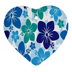 Hibiscus Flowers Green Blue White Hawaiian Heart Ornament (Two Sides)
