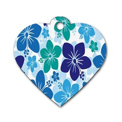 Hibiscus Flowers Green Blue White Hawaiian Dog Tag Heart (Two Sides)