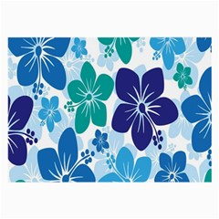 Hibiscus Flowers Green Blue White Hawaiian Large Glasses Cloth (2-Side)