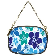 Hibiscus Flowers Green Blue White Hawaiian Chain Purses (Two Sides)