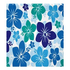 Hibiscus Flowers Green Blue White Hawaiian Shower Curtain 66  x 72  (Large)