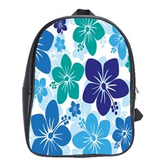 Hibiscus Flowers Green Blue White Hawaiian School Bags(Large)