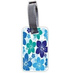Hibiscus Flowers Green Blue White Hawaiian Luggage Tags (one Side)