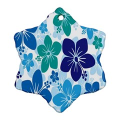 Hibiscus Flowers Green Blue White Hawaiian Snowflake Ornament (Two Sides)