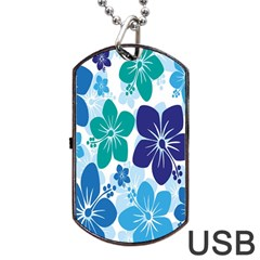 Hibiscus Flowers Green Blue White Hawaiian Dog Tag USB Flash (Two Sides)