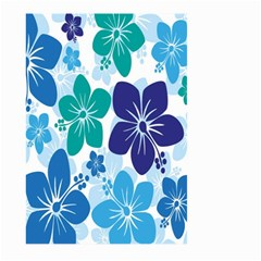 Hibiscus Flowers Green Blue White Hawaiian Large Garden Flag (Two Sides)