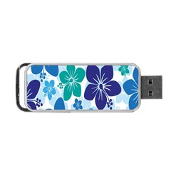 Hibiscus Flowers Green Blue White Hawaiian Portable USB Flash (One Side)