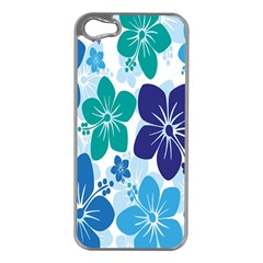 Hibiscus Flowers Green Blue White Hawaiian Apple iPhone 5 Case (Silver)