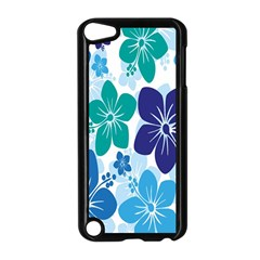 Hibiscus Flowers Green Blue White Hawaiian Apple iPod Touch 5 Case (Black)