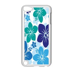 Hibiscus Flowers Green Blue White Hawaiian Apple iPod Touch 5 Case (White)