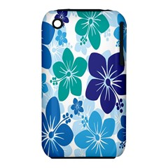 Hibiscus Flowers Green Blue White Hawaiian iPhone 3S/3GS