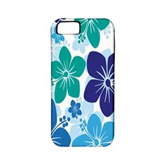 Hibiscus Flowers Green Blue White Hawaiian Apple iPhone 5 Classic Hardshell Case (PC+Silicone)