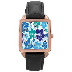 Hibiscus Flowers Green Blue White Hawaiian Rose Gold Leather Watch
