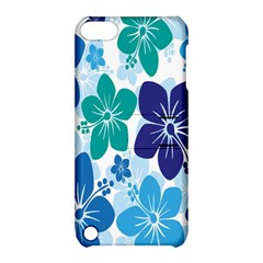 Hibiscus Flowers Green Blue White Hawaiian Apple iPod Touch 5 Hardshell Case with Stand