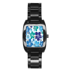Hibiscus Flowers Green Blue White Hawaiian Stainless Steel Barrel Watch