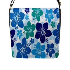Hibiscus Flowers Green Blue White Hawaiian Flap Messenger Bag (L)