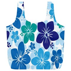 Hibiscus Flowers Green Blue White Hawaiian Full Print Recycle Bags (L)
