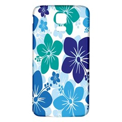 Hibiscus Flowers Green Blue White Hawaiian Samsung Galaxy S5 Back Case (White)