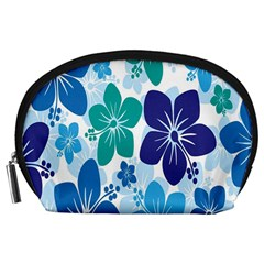Hibiscus Flowers Green Blue White Hawaiian Accessory Pouches (large)