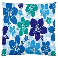 Hibiscus Flowers Green Blue White Hawaiian Large Flano Cushion Case (One Side)