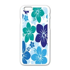Hibiscus Flowers Green Blue White Hawaiian Apple iPhone 6/6S White Enamel Case