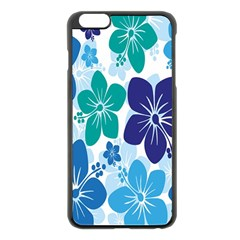 Hibiscus Flowers Green Blue White Hawaiian Apple iPhone 6 Plus/6S Plus Black Enamel Case