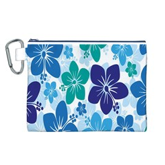 Hibiscus Flowers Green Blue White Hawaiian Canvas Cosmetic Bag (L)