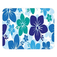 Hibiscus Flowers Green Blue White Hawaiian Double Sided Flano Blanket (Large)