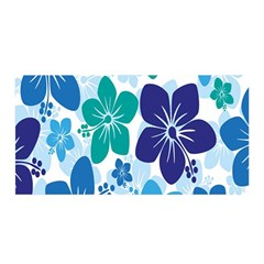 Hibiscus Flowers Green Blue White Hawaiian Satin Wrap