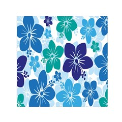 Hibiscus Flowers Green Blue White Hawaiian Small Satin Scarf (Square)