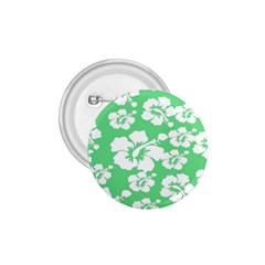 Hibiscus Flowers Green White Hawaiian 1.75  Buttons