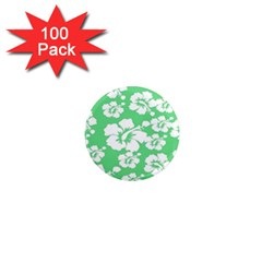 Hibiscus Flowers Green White Hawaiian 1  Mini Magnets (100 pack)
