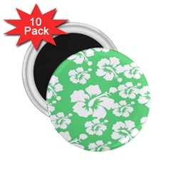 Hibiscus Flowers Green White Hawaiian 2.25  Magnets (10 pack)