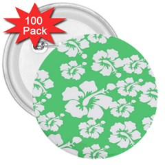 Hibiscus Flowers Green White Hawaiian 3  Buttons (100 pack)