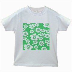 Hibiscus Flowers Green White Hawaiian Kids White T-Shirts