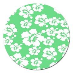 Hibiscus Flowers Green White Hawaiian Magnet 5  (Round)