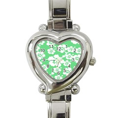 Hibiscus Flowers Green White Hawaiian Heart Italian Charm Watch