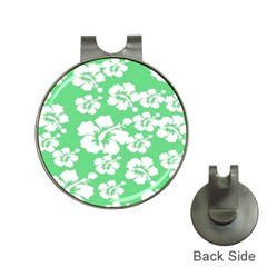 Hibiscus Flowers Green White Hawaiian Hat Clips with Golf Markers