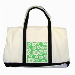 Hibiscus Flowers Green White Hawaiian Two Tone Tote Bag