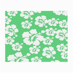 Hibiscus Flowers Green White Hawaiian Small Glasses Cloth (2-Side)
