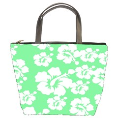 Hibiscus Flowers Green White Hawaiian Bucket Bags