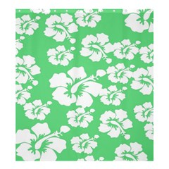 Hibiscus Flowers Green White Hawaiian Shower Curtain 66  x 72  (Large)