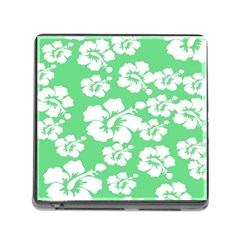 Hibiscus Flowers Green White Hawaiian Memory Card Reader (Square)